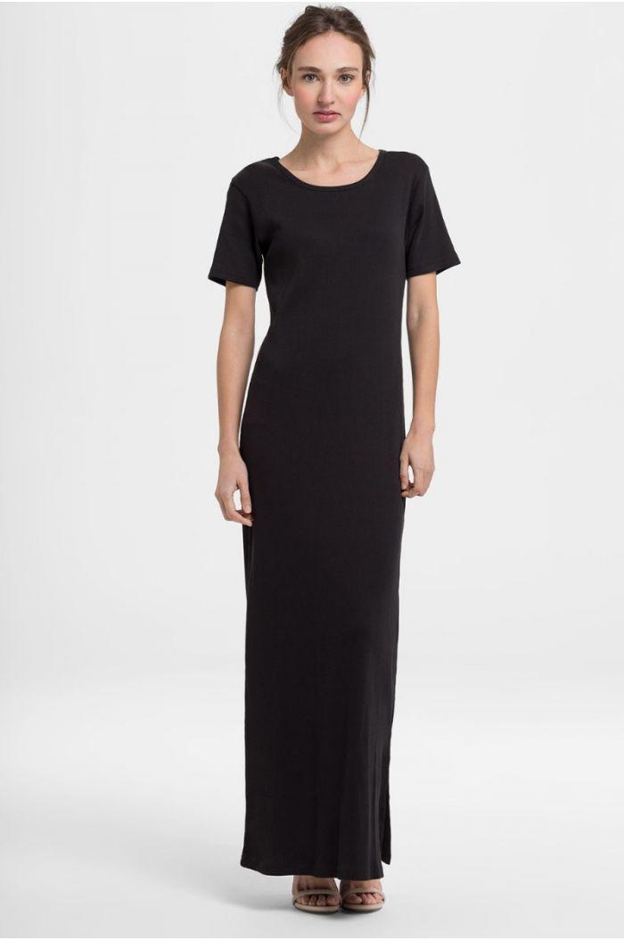 Plain Short Sleeve Maxi Dress
