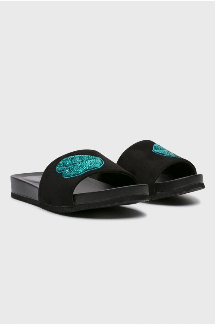 Sequin Open Toe Flat Sandal