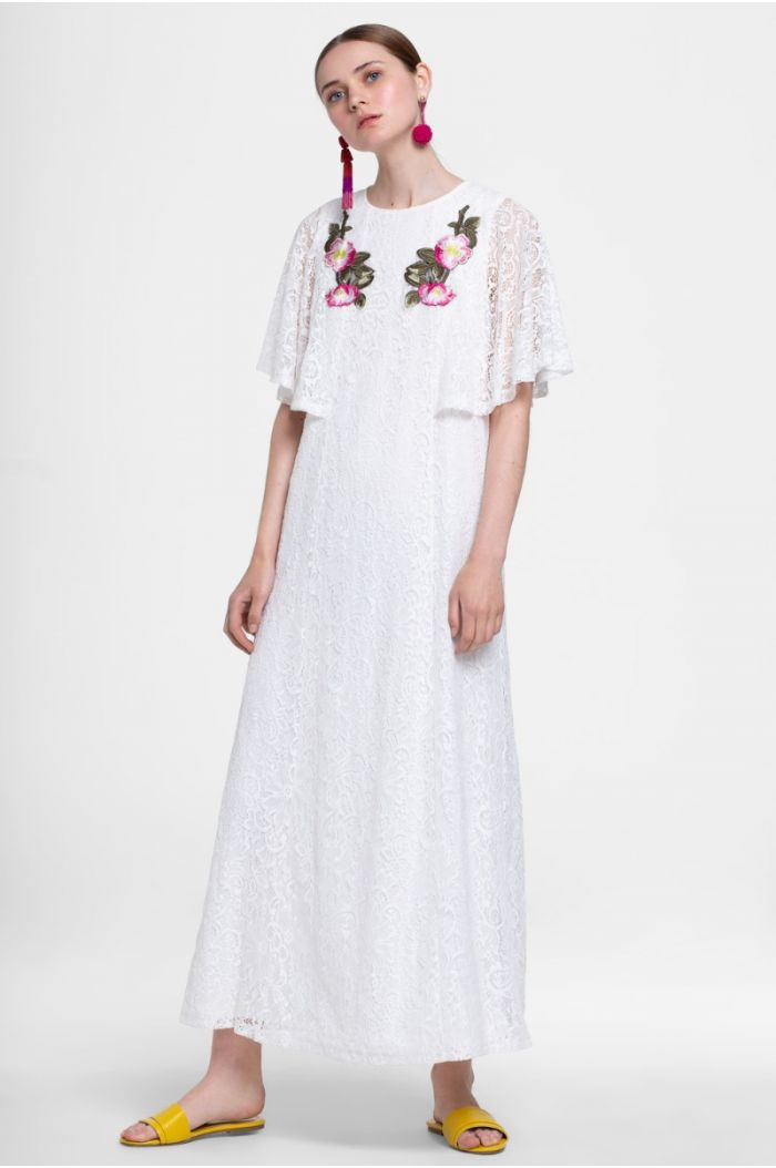 Cape Sleeve Lace Dress