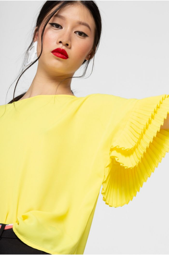 Pleated Ruffles Blouse