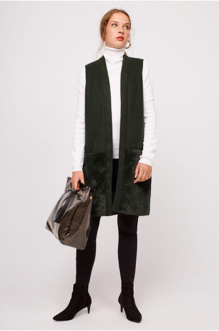 Shearling Hem Vest