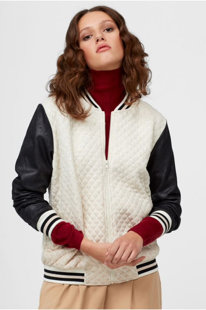 Bomber jacket with suede sleeves