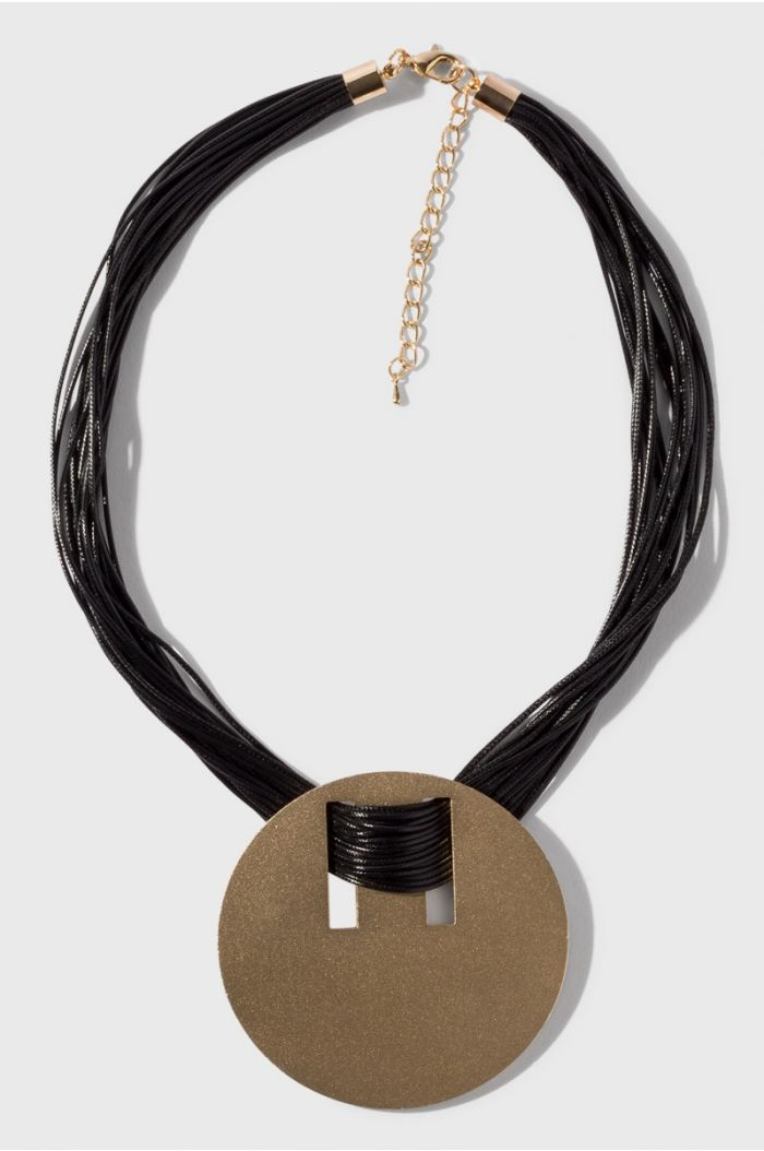 Leather necklace with a gold pendant
