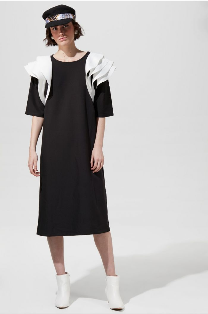 contrast Frilled Sleeves Dress