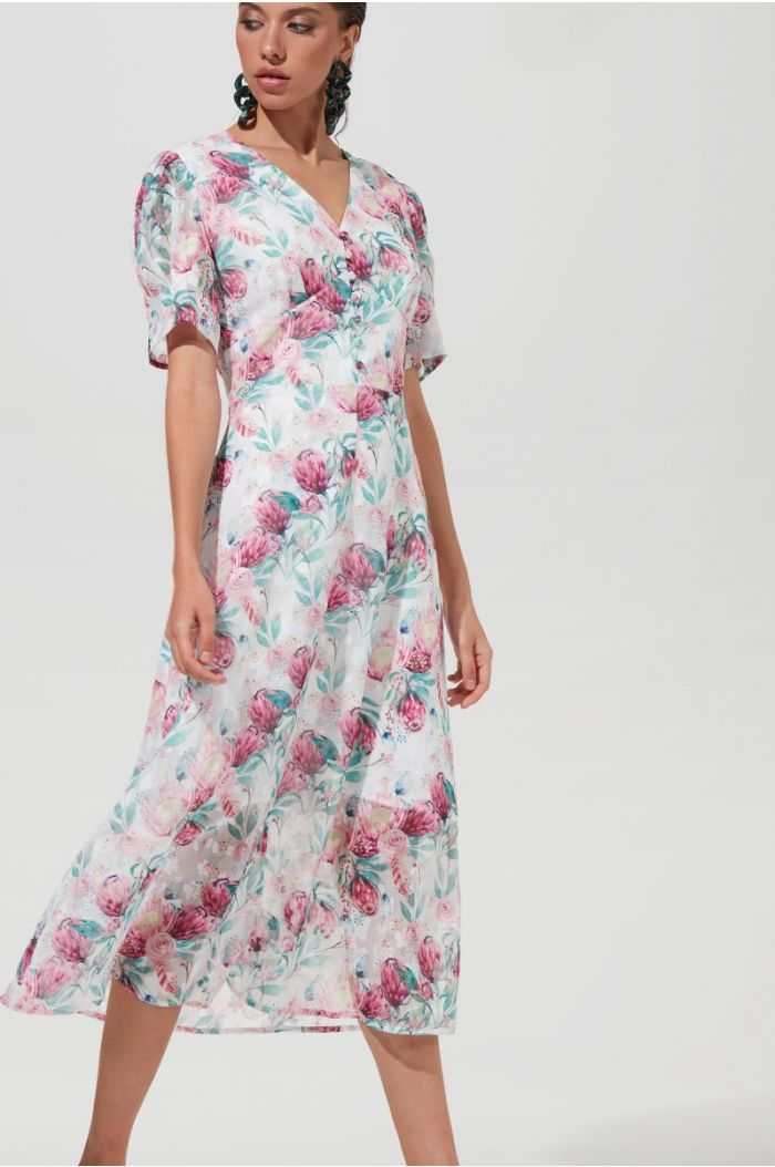 Puffy Sleeves Floral Dress