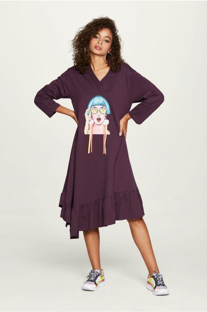 فستان كاجوال غير متماثل الطول