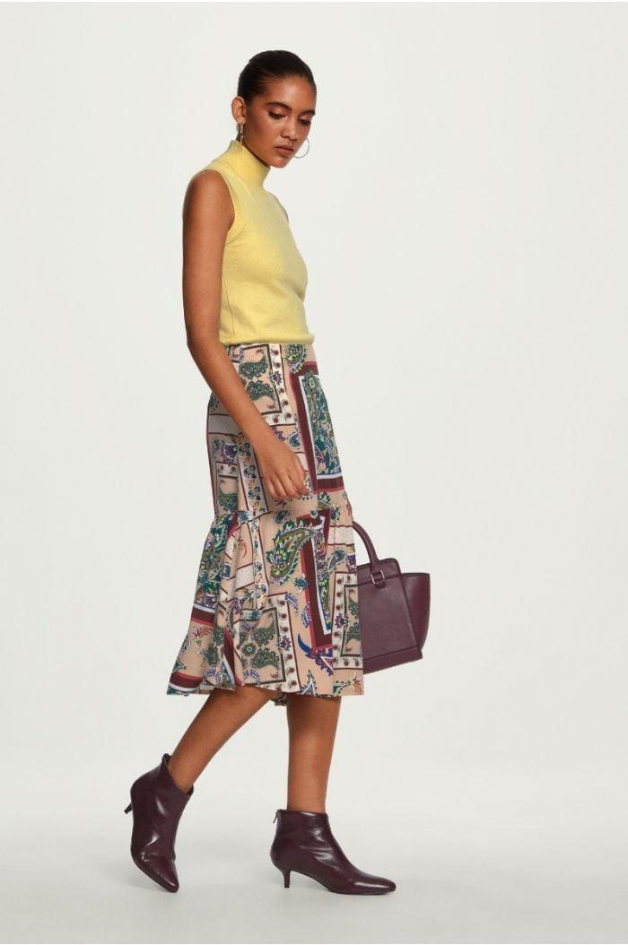 Ruffled Hem Paisley Skirt
