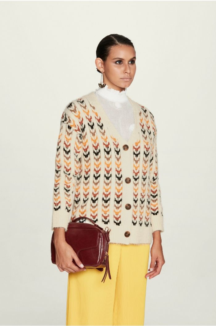 Patterned Multi - Colored Cardigan