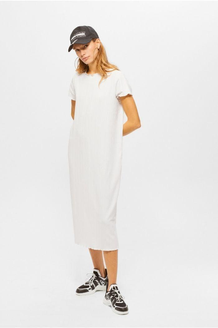 Plain midi dress with lettuce edge