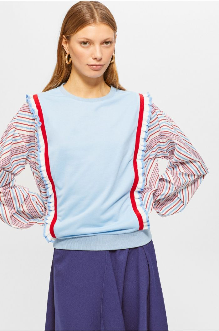 Multi colored sweatshirt with scalloped edges details