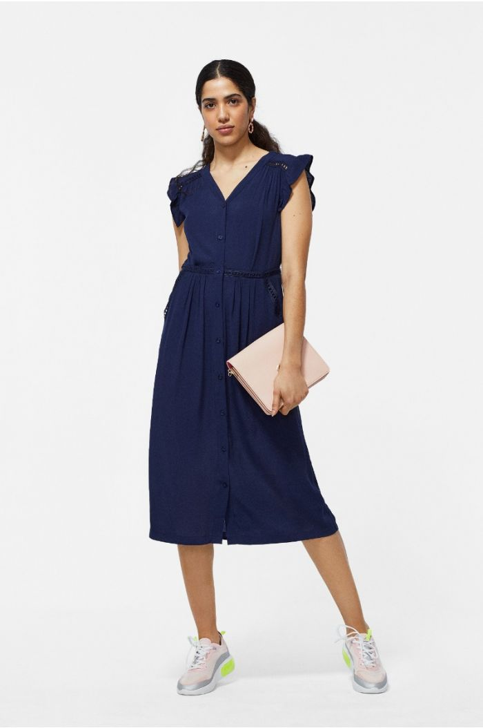 Buttons Up Midi Dress