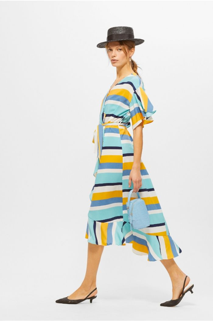 Multi colored ruffled midi dress