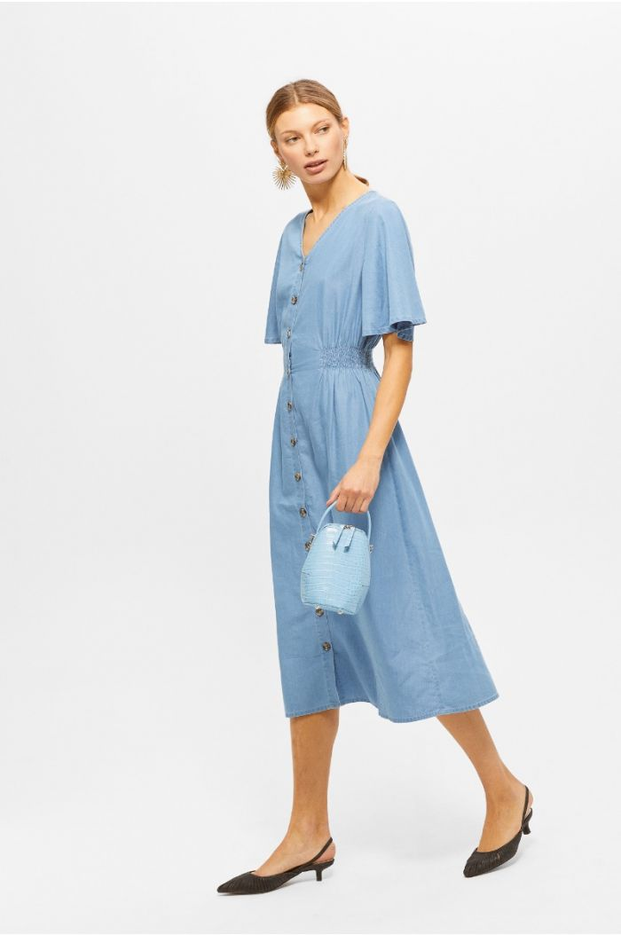 Denim midi dress with front buttons