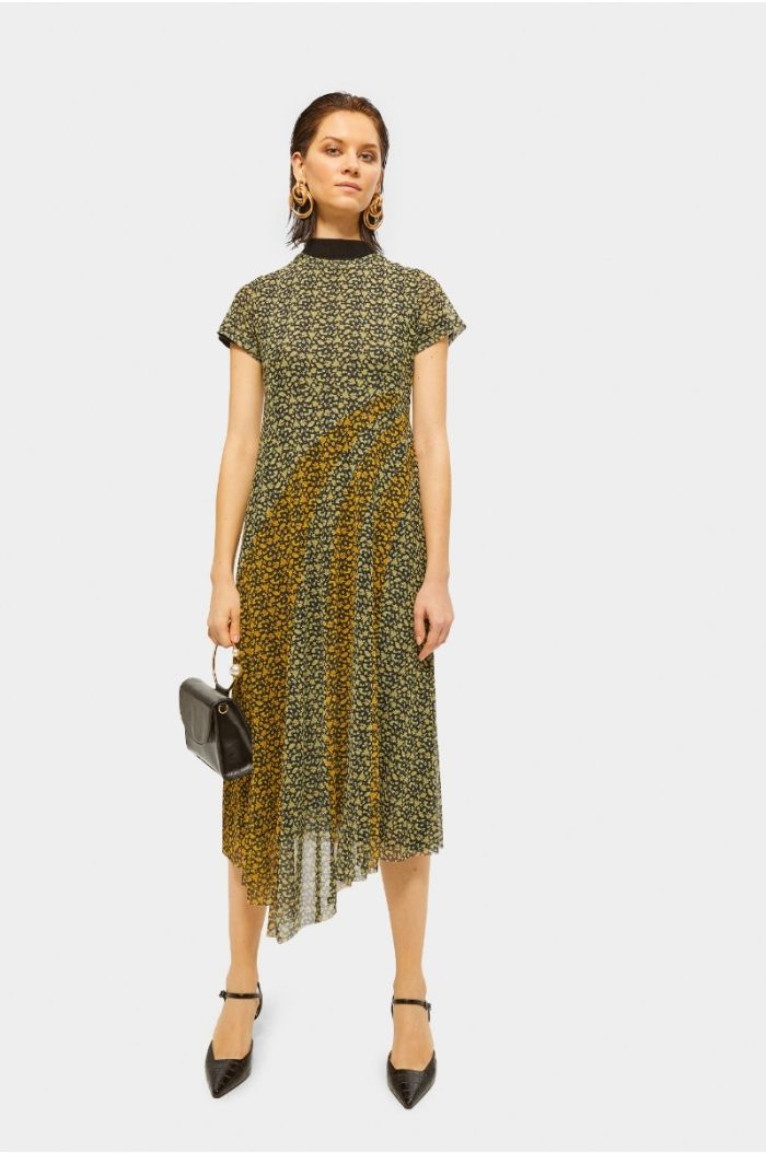 Printed double layered asymetric midi dress