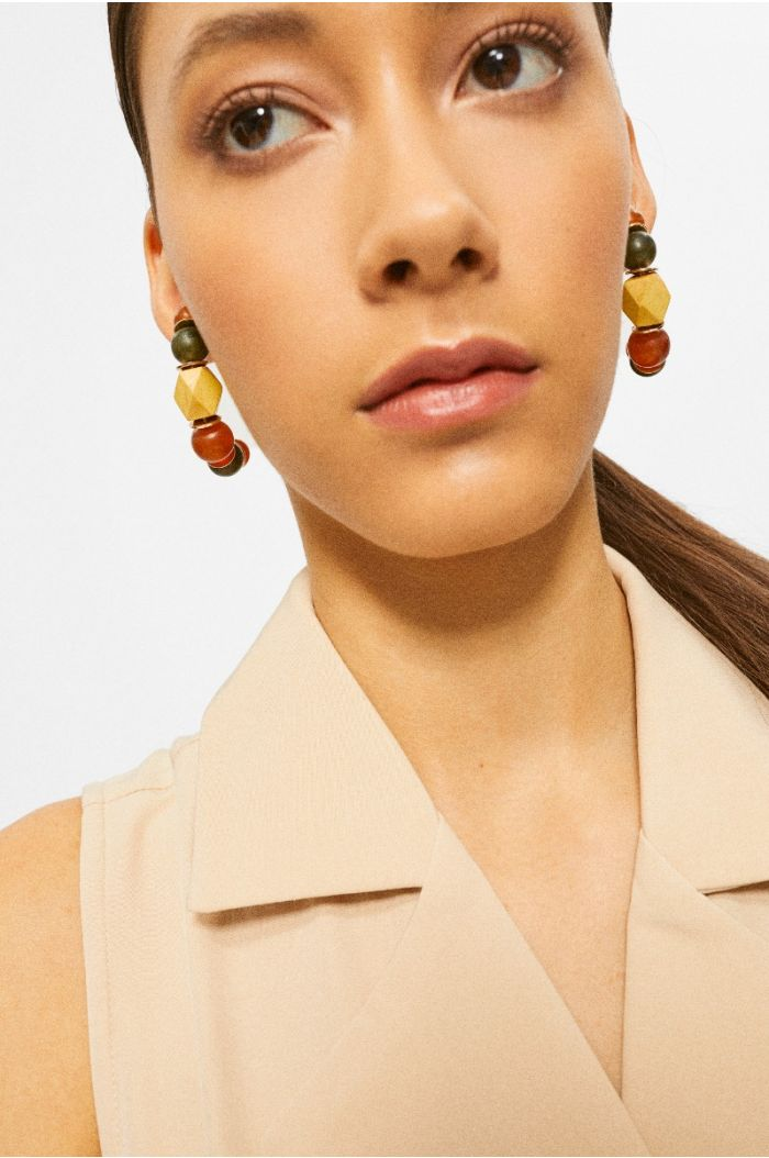 Earrings with multi colored beads