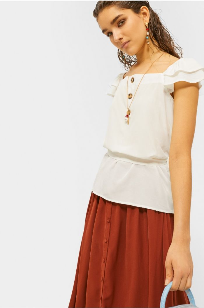 Blouse with ruffled sleeves and waist belt