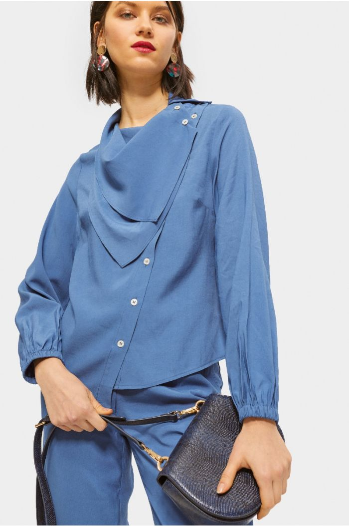 Asymetric shirt with layered neckline