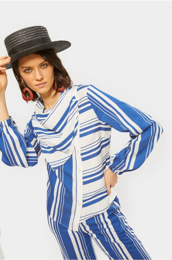 Striped asymetric shirt with layered neckline