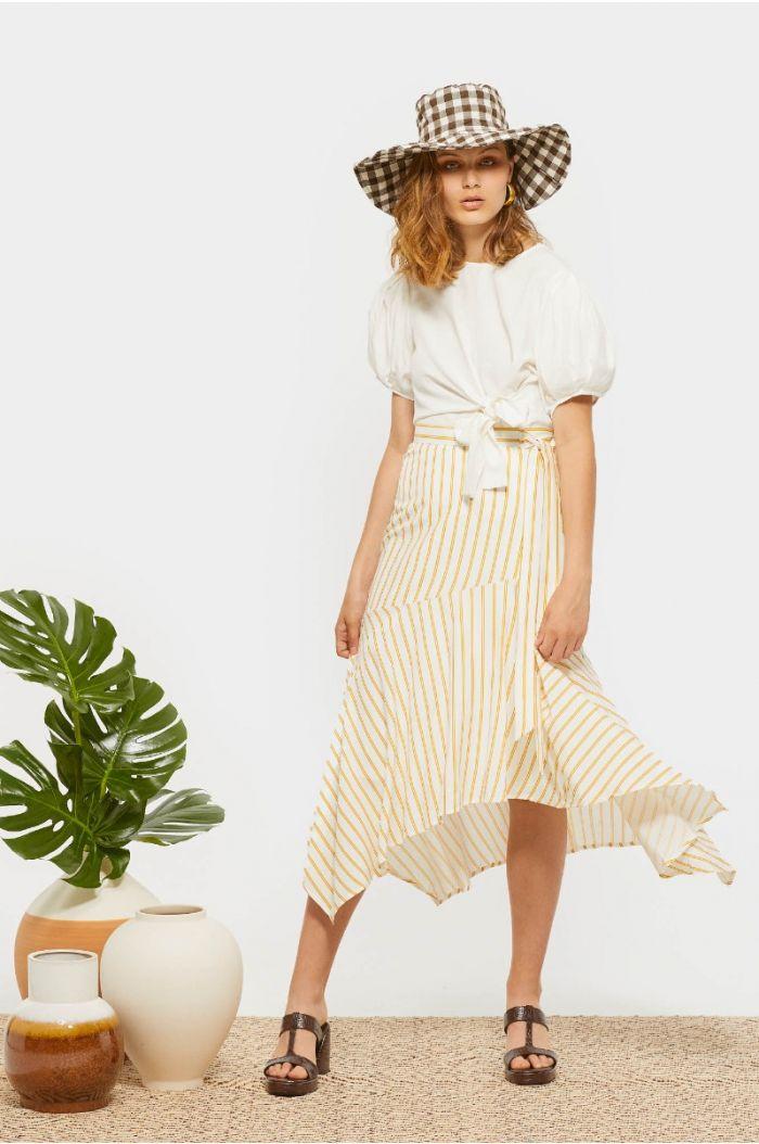 Asymetric striped skirt