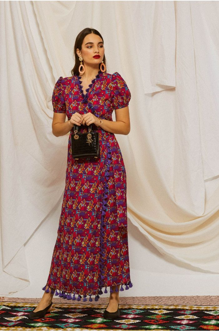 Multi colored printed wrap maxi dress