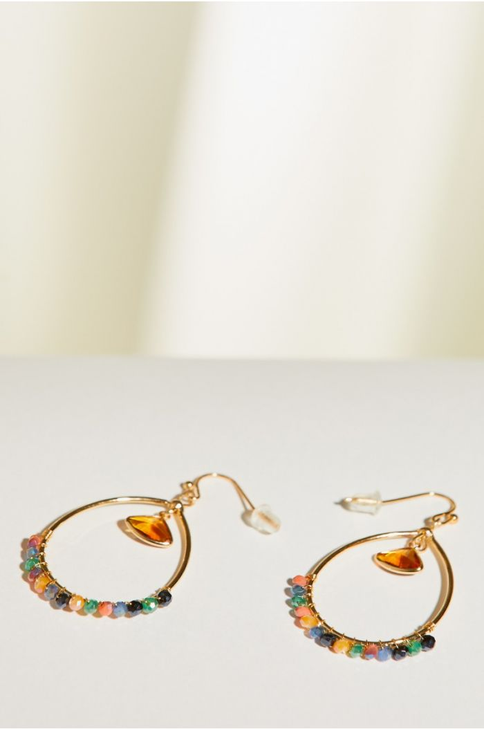 Earrings with multi colored beaded pendant
