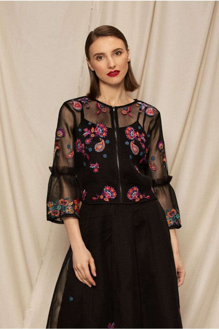 Chiffon blouse with multi colored floral embroidery