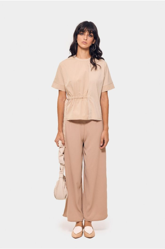 Plain blouse with side drawstring