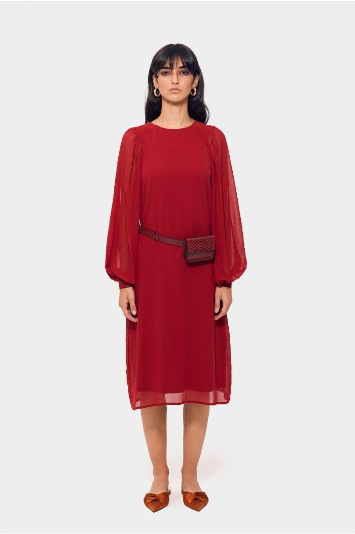 Plain puffed sleeves dress