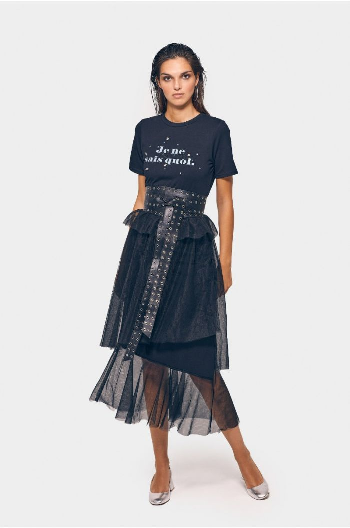 Layered mesh dress with wording print