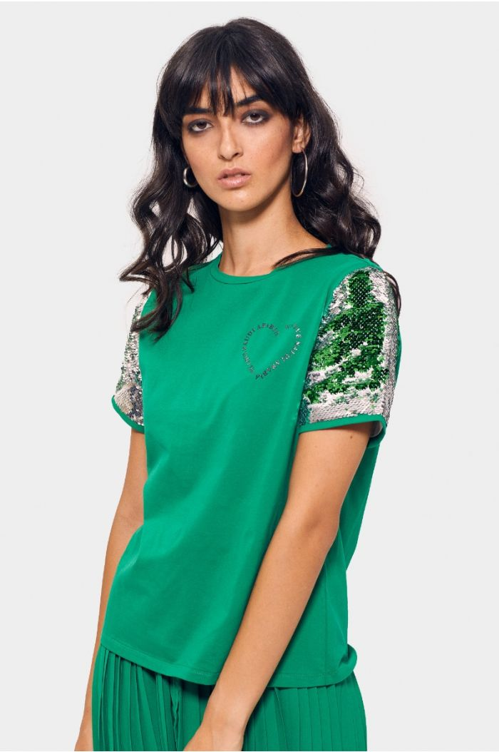 T-shirt with sequined sleeves