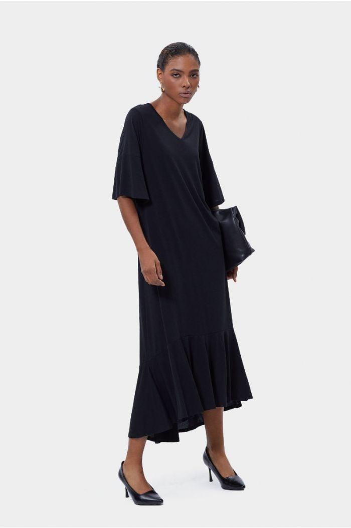Plain asymmetric maxi dress