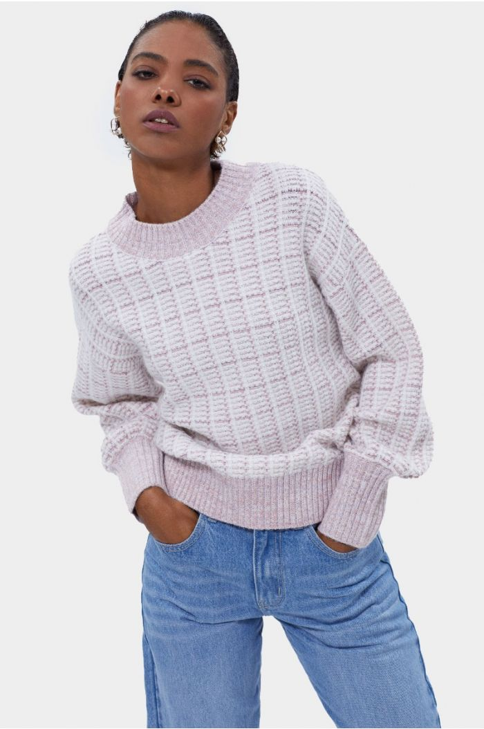 Checkered knitted pullover