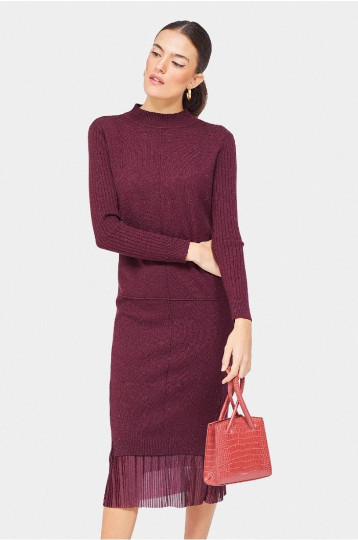Knitted layered midi dress