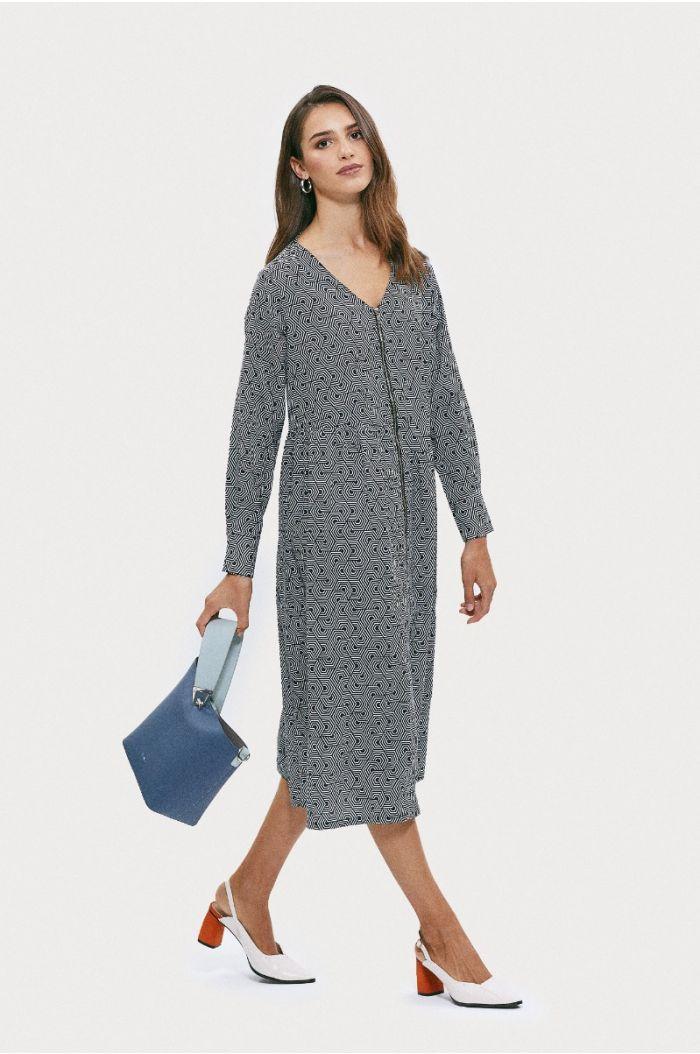 فستان ميدي بنمط مطبع