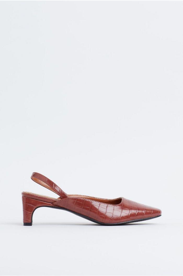 Textured slingback heels