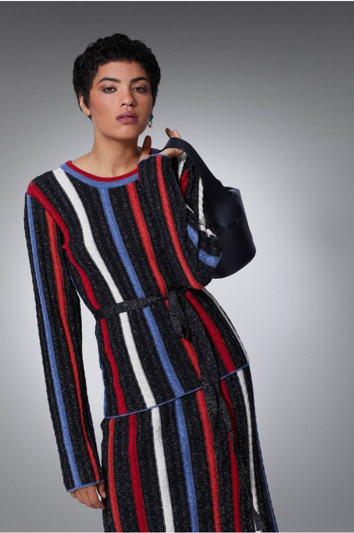 Knitted striped pullover