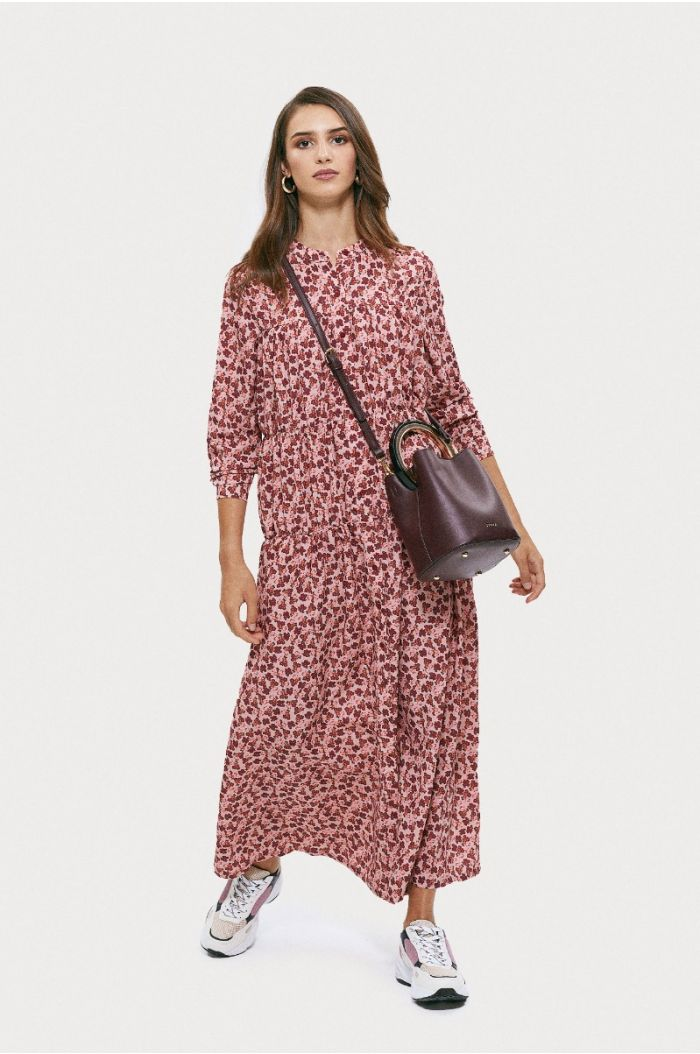 Buttoned printed maxi dress