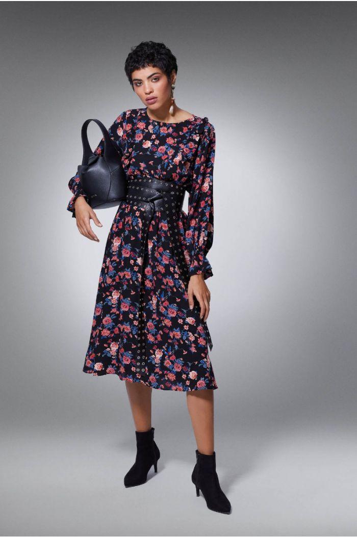 فستان ميدي بنمط مورد
