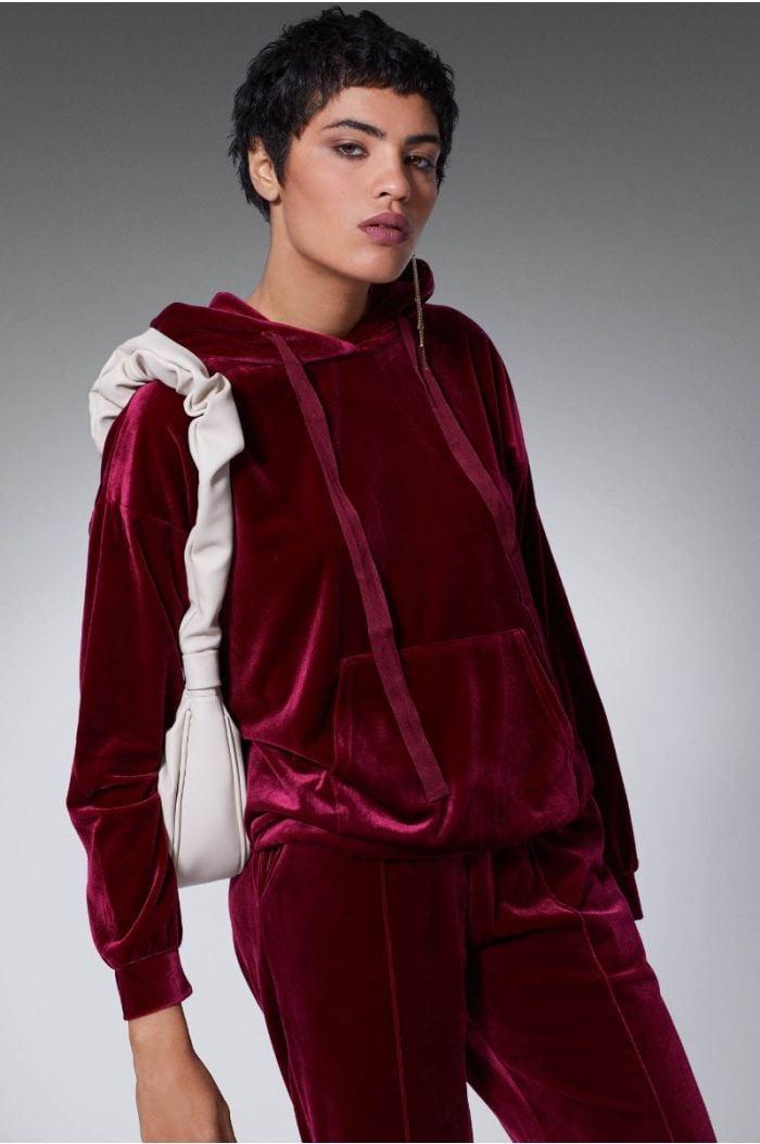Velvet look sweatshirt hoodie