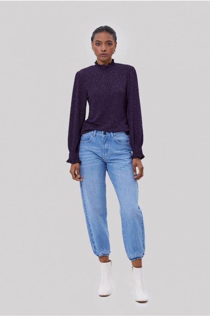 Metallic knitted blouse