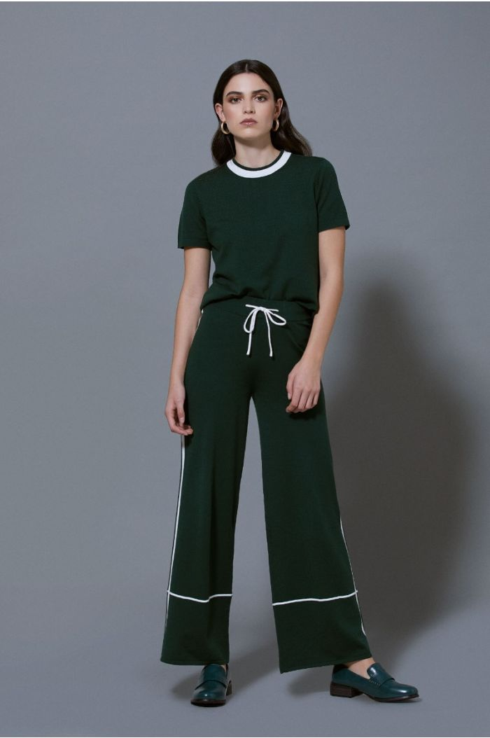 Knitted pants with linings