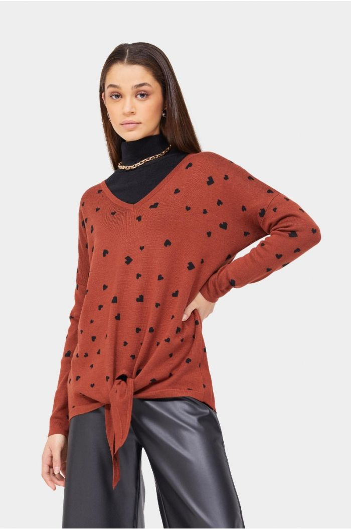 Printed knitted blouse