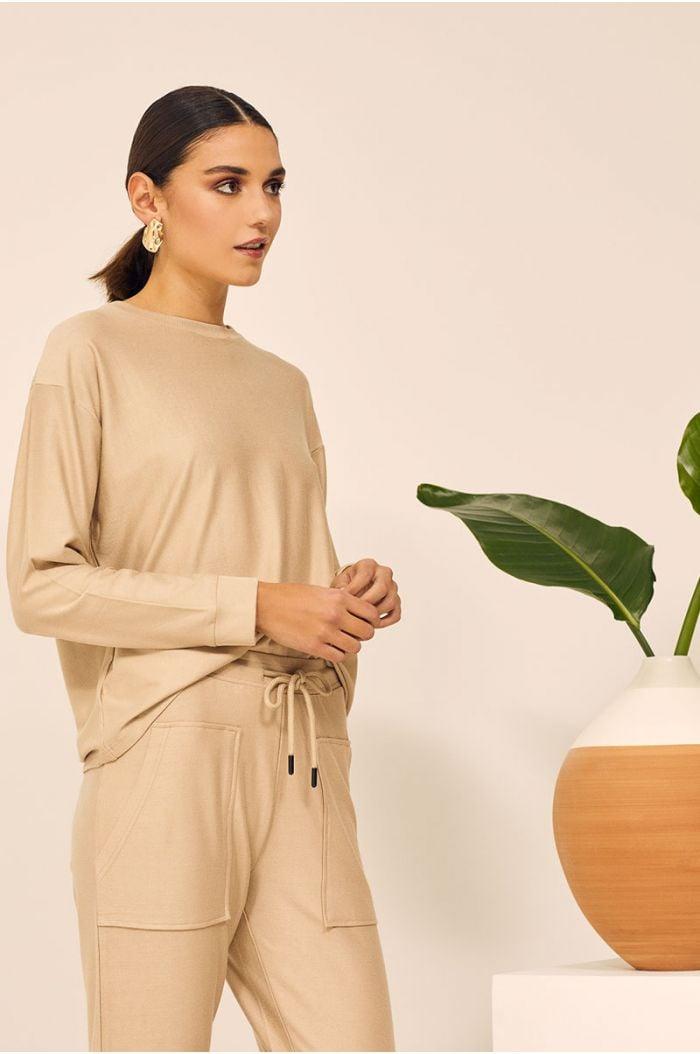 Model Wears  Tropical printed sweatshirt