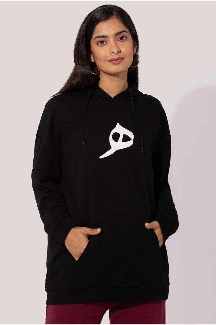 "Model wears Sweatshirt hoodie with Arabic letter print ""ه"""