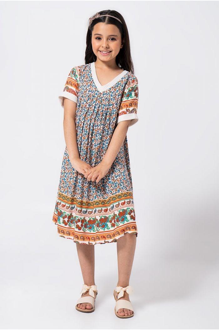فستان ميدي فضفاض بنمط مطبع متعدد الألوان