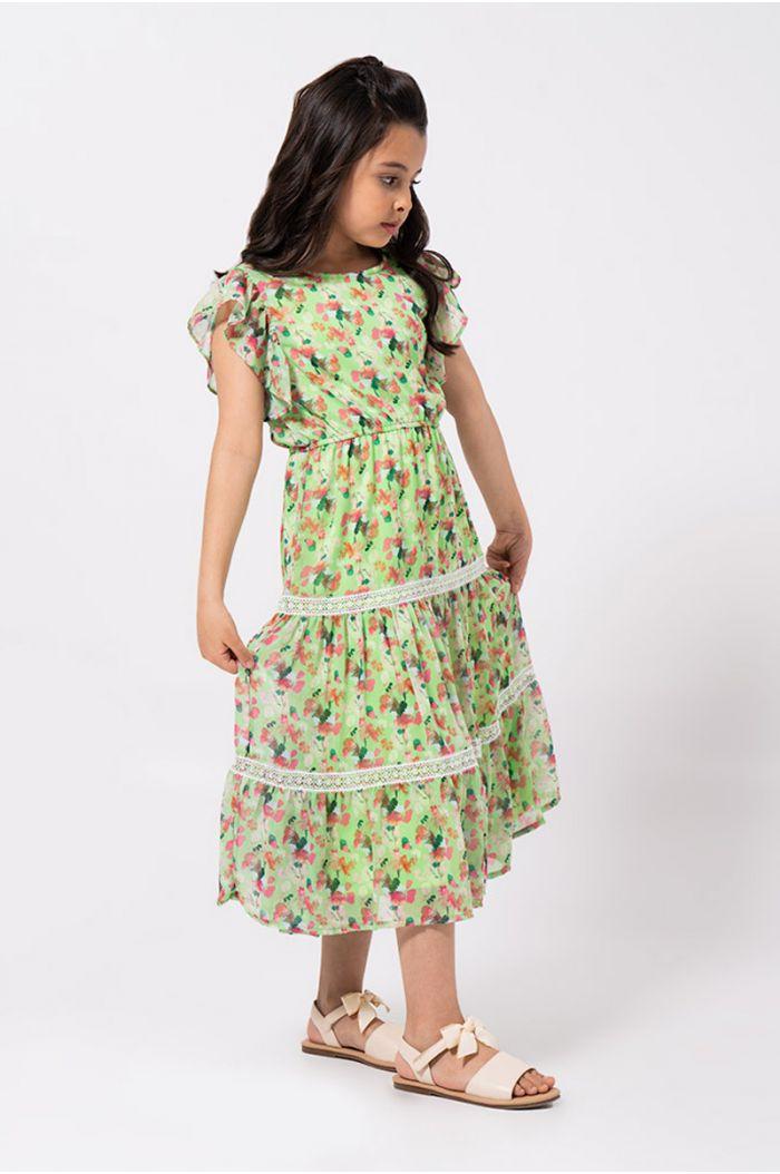 فستان ماكسي طبقات بنمط مورد