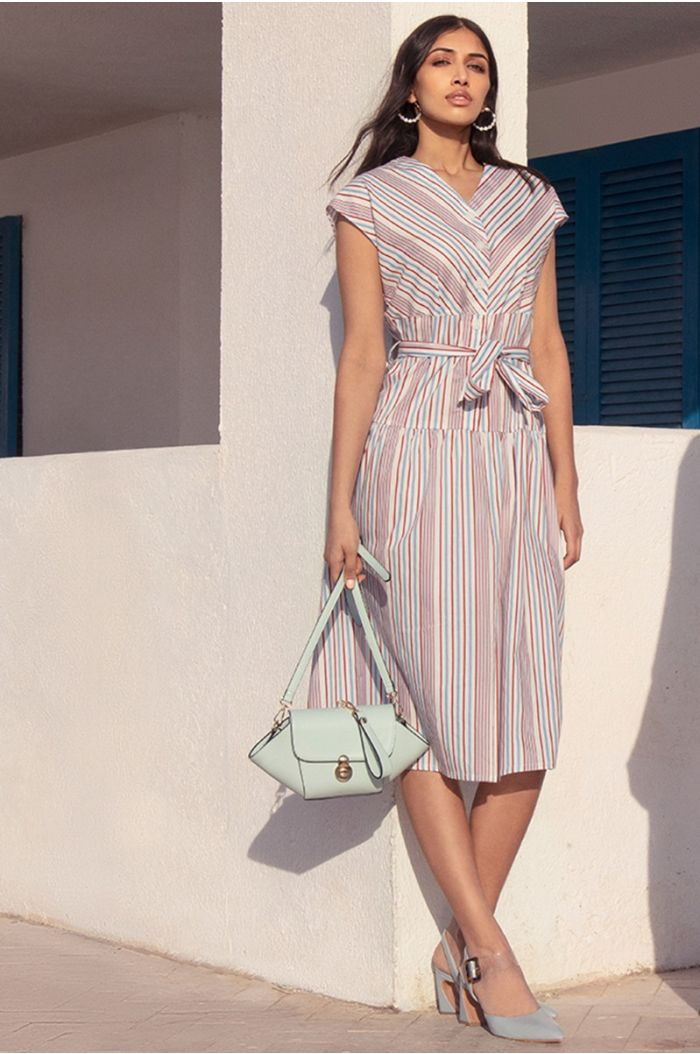 Multi colored striped midi dress