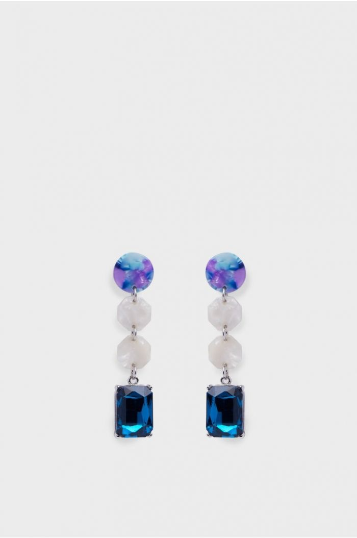 Earrings with a colored stone pendant